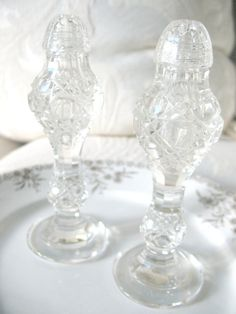 Vintage Crystal Salt and Pepper Shakers by Vintagegirlsfinds, $22.00