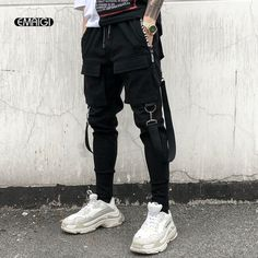 Cheap Hombres Multi Bolsillo diseño de cintura elástica pantalones Harem  calle Punk Hip Hop Pantalones Casual 2193f828c3a
