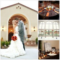 Gorgeous Fall Themed Wedding at Chapel at Ana Villa in #thecolony, #texas. Love the chocolate colored linens with the orange and crimson centerpieces. #chapel #dallasweddingvenue #waltersweddingestates #fallwedding #bouquet #centerpiece