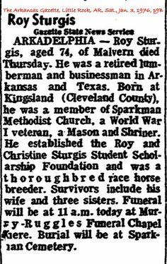 Sturgis, Roy Obituary
