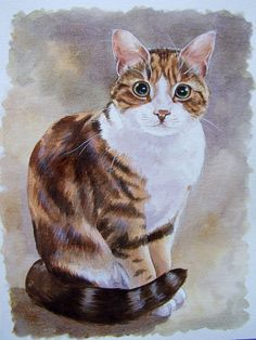 Fig 21 by artjosietipler, via Flickr. Cat in acrylics on watercolour paper