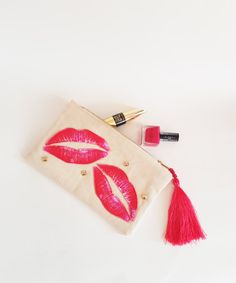 This item is unavailable Deer Makeup, Makeup Pouch, Everyday Bag, Pouches, My Etsy Shop, Canvas, Check, Pink, How To Make