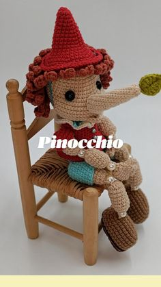 Pinocchio, Disney, Crochet Hats, Character, Amigurumi, Knitting Hats, Disney Art