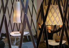 Sascha Akkermann of confused direction recently informed us about their recent exhibition of the la melle lamp at Blickfang. The lamp was hung in the middle of a tipi structure whose wooden lattice is partially exposed. Read the previous post on la melle, and here.
