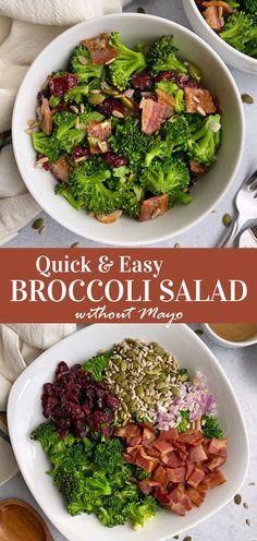 This quick and easy broccoli salad recipe is made without mayo and is dairy free, paleo and whole30 approved. It's the best broccoli salad - perfect for lunch or as a dinner side dish. #broccolisalad #nomayo #paleosalad Egg Free Recipes, Whole 30 Recipes, Side Dish Recipes, Paleo Salad Recipes, Healthy Dinner Recipes, Eggless Recipes, Diabetic Recipes, Easy Broccoli Salad, Homemade Honey Mustard