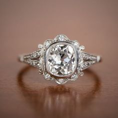 1.50ct Old Mine Diamond Handmade Platinum Mounting - Art Deco Style Engagement Ring by EstateDiamondJewelry on Etsy https://www.etsy.com/listing/183128980/150ct-old-mine-diamond-handmade-platinum