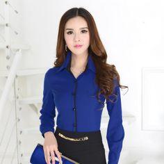 New 2015 Spring Fashion Ladies Office Uniform Shirts Formal Blue Shirts Women Work Blouses Long Sleeve Camisas Femininas(China (Mainland)) Womens Uniform Shirts, Corporate Uniforms, Moda Formal, Office Uniform, Spring 2015 Fashion, Cheap Blouses, Mode Outfits, Work Attire, China