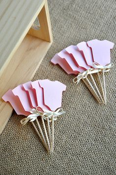 Baby Girl Shower Cupcake Toppers 12CT. Ships in 2-5 Business Days. Pink Onesie Cupcake Picks. by ConfettiMommaParty on Etsy https://www.etsy.com/listing/184634013/baby-girl-shower-cupcake-toppers-12ct
