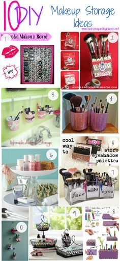 10 DIY Makeup Storage Ideas - could totally use this for craft supplies!