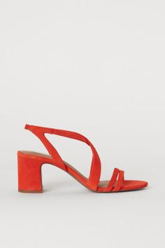 Sandals in soft suede with covered block heels and narrow elastication at back of heel. Heel height 2 in. Strappy Sandals, Black Sandals, Leather Sandals, Orange, H&m Gifts, Soft Suede, Fashion Company, Lady, Wedding Shoes