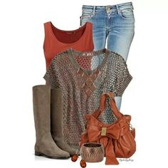 Casual outfit for an Autumn Old Navy Womens Crocheted Cropped Tops Mode Outfits, Casual Outfits, Fashion Outfits, Womens Fashion, Fashion Trends, Fashionista Trends, Fashion Styles, Fall Winter Outfits, Autumn Winter Fashion