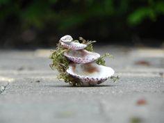 Miniature Fairy Garden Fountain 3 tier shells by TheLittleHedgerow, $7.50