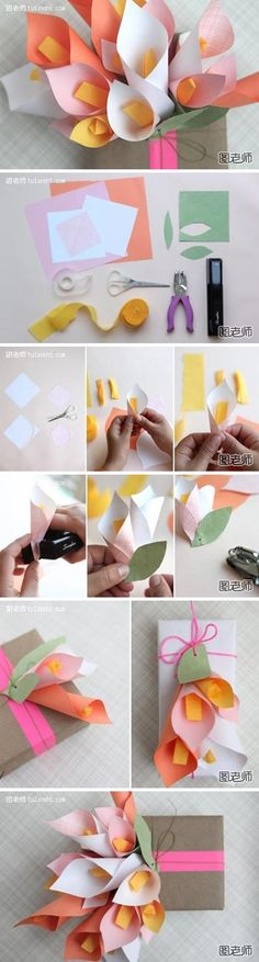 How to make calla bouquet gift package paper craft step by step DIY tutorial instructions