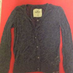 Hollister knit cardigan Dark grey button down cardigan . Gently worn. Long sleeve. Looks great with a Cami under. Hollister Sweaters Cardigans