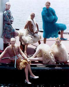 Colette Pechekhonova, Maggie Rizer, Carmen Kass, Malgosia Bela, and Karen Elson by Steven Meisel by Vogue US July 2000