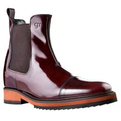 Elevator boots - Upper in shiny calfskin, insole and midsole in genuine leather, dual elastik silk panel for an easy, comfortable fit. Hand Made in Italy. #elevatorshoes #elevatorboots