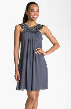 JS Boutique Beaded Chiffon Trapeze Dress | Nordstrom