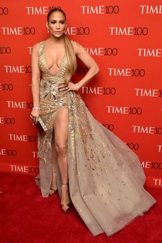 Jennifer Lopez is jaw-dropping in plunging champagne gown with bold thigh slit at Time 100 Gala J Lo Fashion, Celebs, Celebrities, Gold Dress, Celebrity Style, Time 100, Zuhair Murad, Dresses, Models