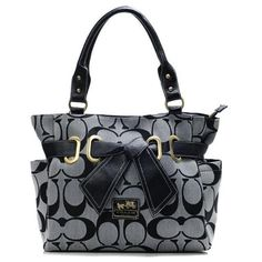 Coach Poppy Bowknot Signature Medium Grey Totes ANC Give You The Best feeling!