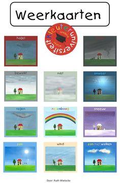 weerkaarten, groot formaat om te printen Education World, What To Make, Teaching Tools, Primary School, Science Nature, Vocabulary, Preschool, Classroom, Weather