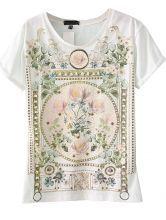 White Short Sleeve Floral Cotton T-Shirt US$21.61