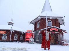 First Snow arriving in Santa Claus Village in Rovaniemi in Lapland