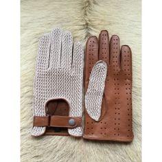 Herren Baumwolle und Leder treibende Handschuhe