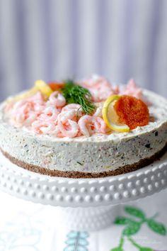 Lax- & räkcheesecake