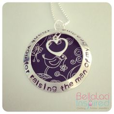 """""""Thank you for raising the man of my dreams"""" . Sterling Silver Open Face Locket Style necklace with Sterling Silver Small Heart & Black Birdie Adonized Aluminium Background. Open Face, Hand Stamped Jewelry, Amber Jewelry, Small Heart, Fashion Necklace, Raising, Washer Necklace, Dreams, Jewellery"""