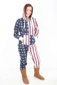 A STARS AND STRIPES USA adult onesie suitable women and Men GREY colour chunky zip 65 cotton 35 Polyester This USA all in one suit is perfect for