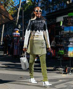 Street style Paris -,Michelle Elie wearing Paco Rabanne (=)