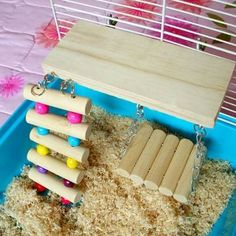 Wooden Pets Toy Rat Mouse Bird Hamster Parrot Swing Bridge 3 Sets.A great gift for your lovely pet.Easy to install, each part can be used independently.