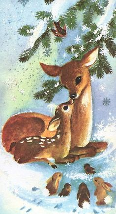 Vintage Christmas card with sweet Doe & Fawn, birds & bunnies - (holidays, Xmas, illustration, deer) Vintage Christmas Images, Christmas Deer, Christmas Animals, Christmas Past, Christmas Scenes, Retro Christmas, Vintage Holiday, Christmas Pictures, Christmas Greetings