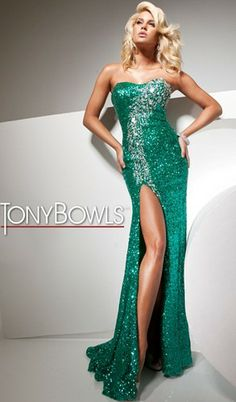 Strapless sequin prom dress with slightly curved neckline and beaded accents cascading down to top of side front slit... This dress would be perfect for the classic Hollywood red carpet look! #ISOBeauty