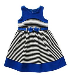Youngland Royal Blue Stripe Bow Belted Textured Ponte Dress - Infant by Youngland Little Dresses, Little Girl Dresses, Girls Dresses, Dress Anak, Baby Dress Patterns, Frocks For Girls, African Fashion Dresses, Toddler Dress, Kind Mode