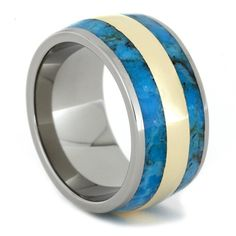Solid 14k Yellow Gold runs between two eye-catching Turquoise Inlays. The stunning Turquoise Ring is reminiscent of the soothing aqua blue