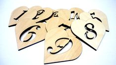 9 personalized wood hearts. These are perfect for your wedding day, Valentine's Day, favor bag tags.