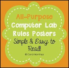 Every school Computer Lab needs a set of rules to help keep things running smoothly.  This set of Computer Lab Rules Posters is designed with elementary-aged students in mind.  Large font and cute Melonheadz graphics make the posters visible from a bulletin board in your computer lab.