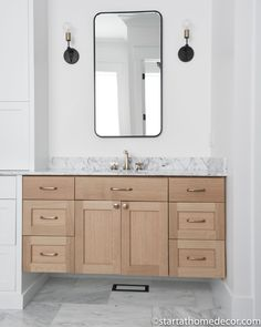 Master Bathroom Reveal | Start at Home Decor | Bathroom vanity Dream Master Bedroom, Master Bathroom, Freestanding Tub Filler, Joanna Gaines Style, Quarter Sawn White Oak, Neutral Kitchen, Floating Vanity, Hanging Light Fixtures