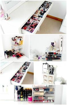 Makeup and Beauty Storage Ikea Malm Dressing Table Muji Acrylic Drawers Makeup Storage Ideas Makeup and Beauty Storage Inspiration White Dressing Table Ikea Dressing Table Vanity Desk Ikea, Vanity Table Organization, Ikea Malm Desk, Dressing Table Organisation, Bathroom With Makeup Vanity, Dressing Table Storage, Ikea Makeup Vanity, Vanity Drawers, Vanity Room
