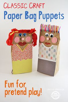 Classic Craft: Making Paper Bag Puppets The One-Stop DIY Shop diy paper bag crafts - Diy Paper Crafts Crafts For Kids To Make, Craft Activities For Kids, Fun Crafts, Grief Activities, Craft Ideas, Paper Bag Crafts, Diy Paper, Paper Bag Puppets, Puppets For Kids