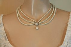 Bridal Necklace Ivory pearls And by mylittlebride on Etsy, $150.00