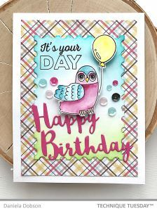 Happy Birthday Party Owl Handmade Card