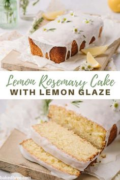 This Lemon Rosemary Cake is beautiful, moist and has a unique sweet and savory flavor best served as a dessert, snack or breakfast treat. #lemonrosemarycake #lemonrosemarycakerecipe #lemonrosemarycake #cakerecipe #lemonglaze