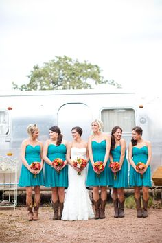 LOVE the cowboy boots and turquoise dresses!!!!!!!