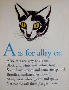1946 ABC Alphabet Print Letter A Print Alley Cat Print Childrens Decor 1690