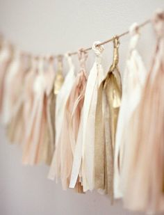 Tissue Tassel Garland Your Cloud Parade Barely There - Fawn Brown and Blush Wedding Inspiration Party Garland, Tassel Garland, Tassels, Ribbon Garland, Diy Garland, Ribbon Banner, Fabric Garland, Diy Ribbon, Gold Wedding
