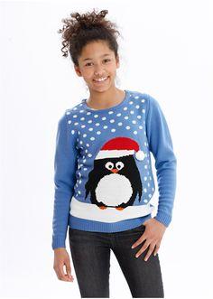 Sweter bożonarodzeniowy z motywem pingwina • 74.99 zł • bonprix