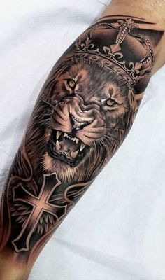 50 eye-catching lion tattoos that make you fancy ink - KickAss Things - cool . - 50 eye-catching lion tattoos that make you fancy ink – KickAss Things – cool black and gray lio - Little Cross Tattoos, Faith Cross Tattoos, Celtic Cross Tattoos, Cross Tattoo For Men, Leg Tattoo Men, Tattoo Arm, Big Tattoo, Tattoo Girls, Tattoos For Guys