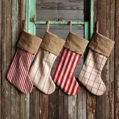 These beautiful Burlap Vintage Stockings come in the four patterns you see pictured. (each stocking has bells attached to it) We know that each family is a diff